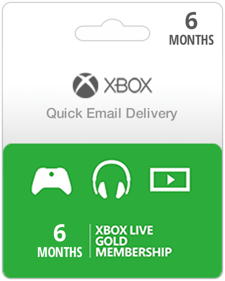 6 Month Xbox Live Membership Gift Card